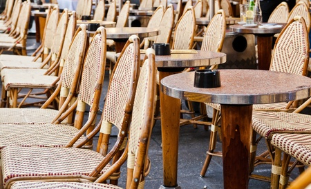 Street view of a Cafe terrace with tables and chairs,paris France Stock Photo - 10720075