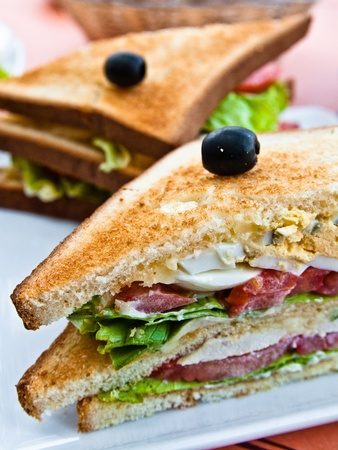 Sandwich with chicken, cheese and egg Stock Photo