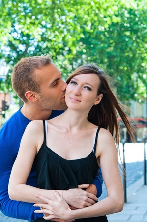Young couple in love smiling in the streets Stock Photo - 10813479