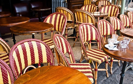 Empty Cafe terrace in paris,France Stock Photo - 10816706