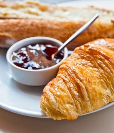 fresh croissan on table ,Delicious! photo