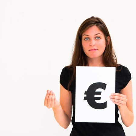 portrait young woman with board euro mark Stock Photo - 10888652