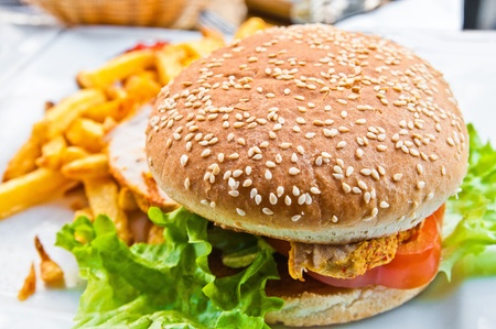burger and fries: Cheese burger - American cheese chicken burger with fresh salad