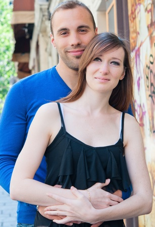 Young couple in love smiling in the streets Stock Photo - 10978246