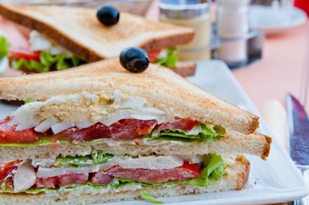 sandwich de pollo: Sandwich de pollo, queso y patatas fritas de oro franc�s