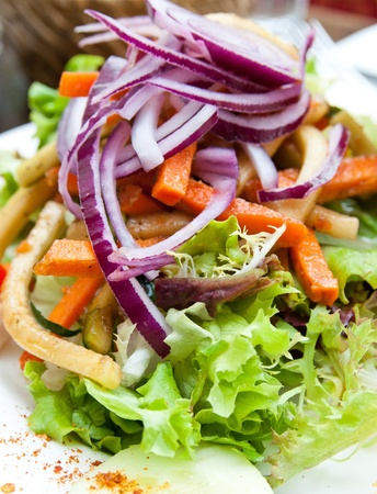 신선한 샐러드 - 토마토와 맛있는 신선한 샐러드, 양상추, 가지, 호박, 치즈, 파 르 마 햄, 올리브 오일. 스톡 콘텐츠