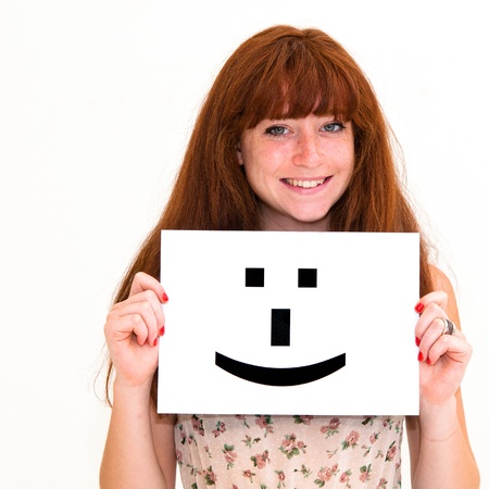 portrait young woman with board Smile face sign Stock Photo - 11146677