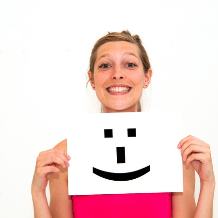 portrait young woman with board Smile face sign Stock Photo - 11146639