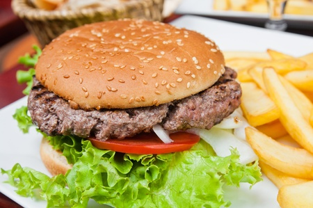 cheeseburger with fries: Cheese burger - American cheese burger with fresh salad