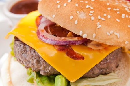 Cheese burger - American cheese burger with fresh salad Stock Photo - 11317838