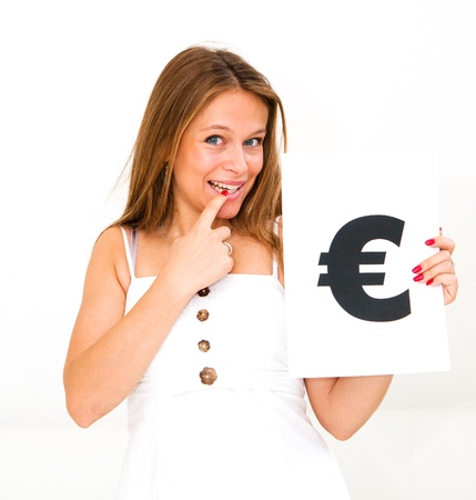 portrait young woman with board euro mark Stock Photo - 11782430