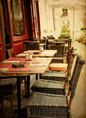 old-fashioned Cafe terrace with tables and chairs,paris France Stock Photo - 12017622