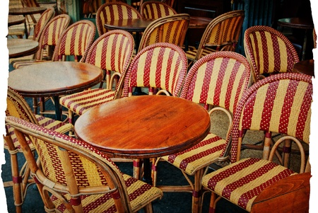 old-fashioned Cafe terrace with tables and chairs,paris France