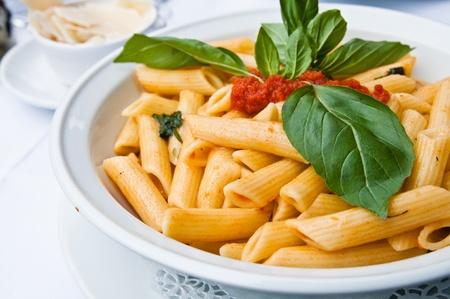 tasty pasta-Italian meat sauce pasta on the table photo