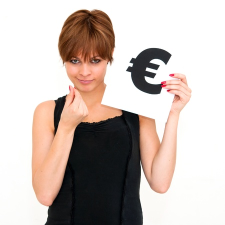 portrait young woman with board euro mark photo