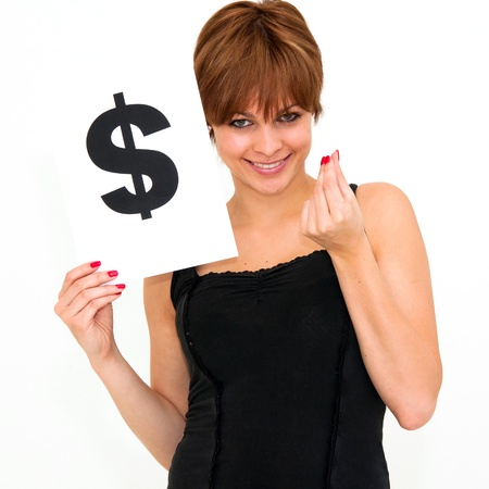 portrait young woman with board dollar mark Stock Photo - 12334849