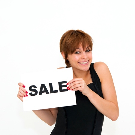 happy portrait young woman with board sale photo