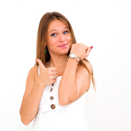 beautiful young woman thumbs up photo
