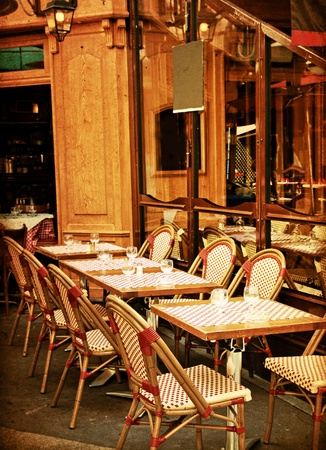 old-fashioned Cafe terrace with tables and chairs,paris France Stock Photo
