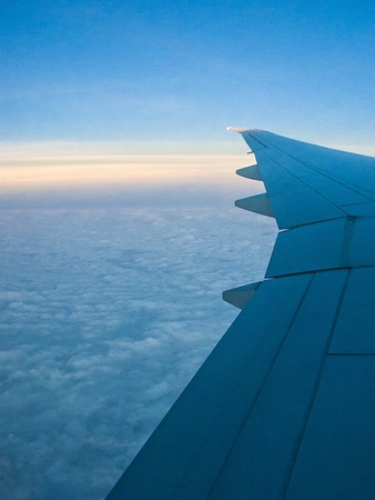 airplane take off: An aerial view from an airplane