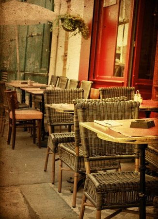 old-fashioned Cafe terrace with tables and chairs,paris France Stock Photo - 12335537