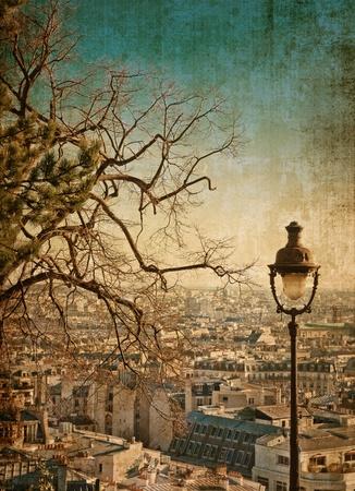 paisaje vintage: hermosas calles de Par�s-con espacio para texto o imagen Foto de archivo