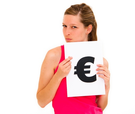 portrait young woman with board euro mark Stock Photo - 12762829