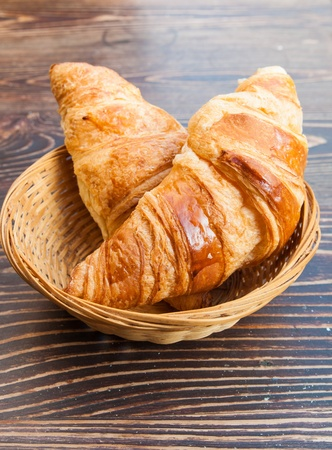 fresh croissant on table ,Delicious! photo