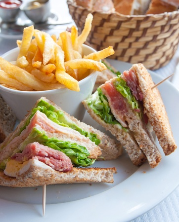 Sandwich with chicken, cheese and golden French fries potatoes photo