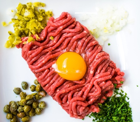 tasty tartare (Raw beef) - classic steak tartare on white plate photo
