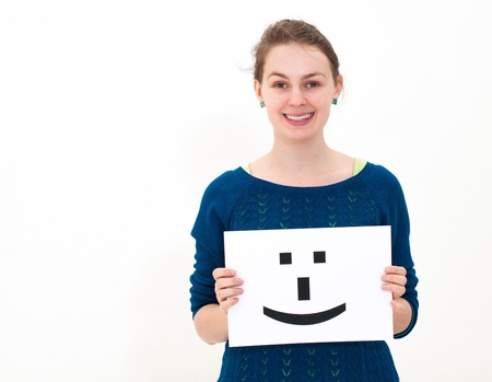 portrait young woman with board Smile face sign Stock Photo - 13152182