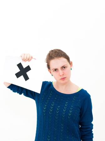 unhappy portrait young woman with board NO Stock Photo - 13152192