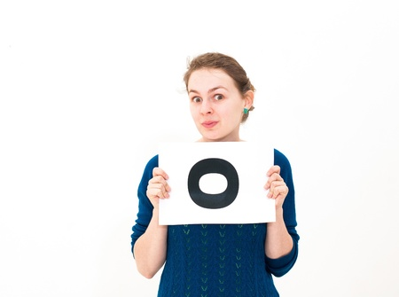 happy portrait young woman with board yes Stock Photo - 13152179
