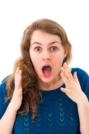Scared face of women on white background photo
