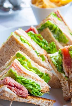 Sandwich mit Huhn, Käse und goldenen Französisch frites Kartoffeln Standard-Bild
