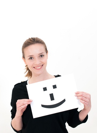portrait young woman with board Smile face sign Stock Photo - 13213221