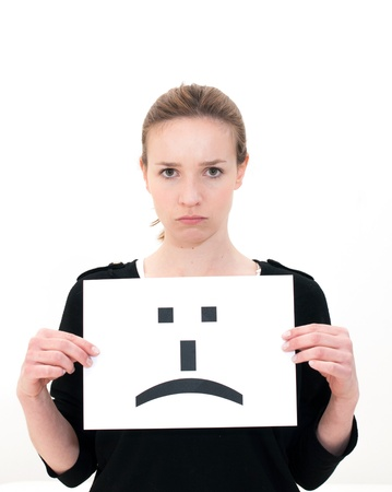 portrait young woman with board sad emoticon face sign Stock Photo - 13213227