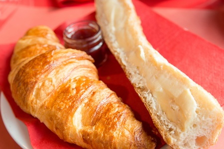 buttery: fresh croissant on table ,Delicious  Stock Photo