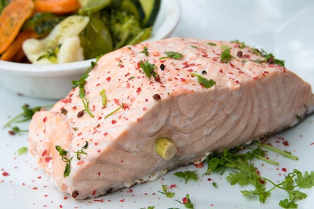 grilled salmon - french cuisine dish with tomato and salmon Stock Photo - 13647468