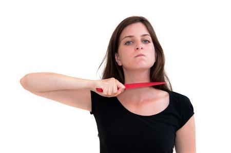 Killer-Frau mit Messer auf einem weißen Hintergrund Standard-Bild - 13743305