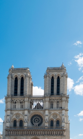 beautiful view Notre Dame Cathedral in paris france (French for Our Lady of Paris) photo