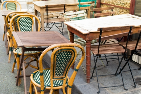 Street view of a coffee terrace with tables and chairs,paris France Stock Photo - 13948616