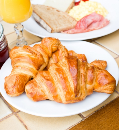 fresh croissant on table ,Delicious  photo