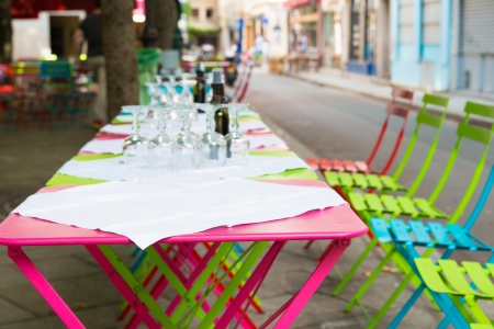 Street view of a coffee terrace with tables and chairs,paris France Stock Photo - 14296507