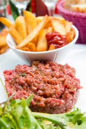 steak tartare: tasty tartare(Raw beef) - classic steak tartare on white plate