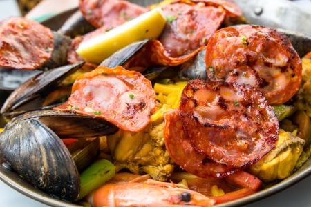 Prawn with rice - closeup of prawn with rice - traditionnal spanish food paella photo
