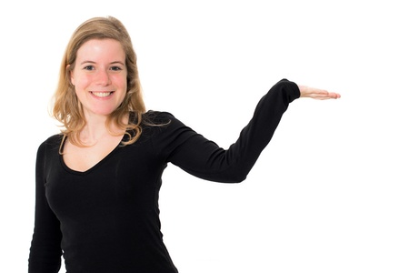 woman showing and smiling looking at camera explaining with gesture on white background photo