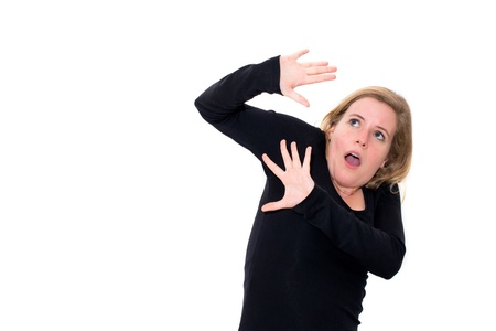 stress caucasian woman on white background photo