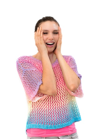 Young woman screaming. against a white background photo