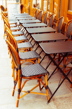 Empty coffee terrace in paris,France photo